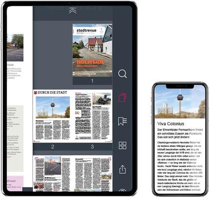 die Stadtrevue App auf Tablet und Smartphone